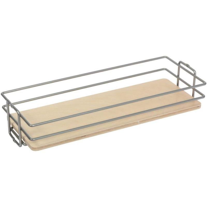 KV BP11CM-FNW, 11in Center Mount Basket, Frosted Nickel Wire w/ Birch Platform for KV Pantry Pull-Outs, 11 W x 4-1/8 H x 20-7/16 D :: Image 10