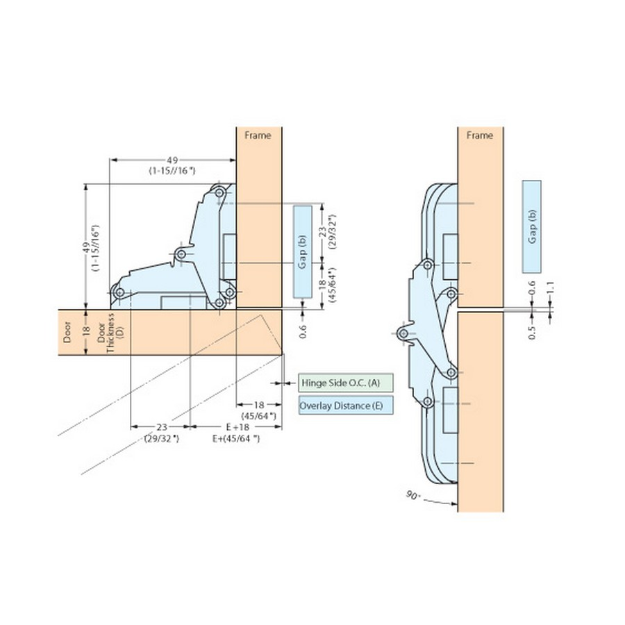 Concealed Hinge Inset or Overlay Ivory Sugatsune T-90-200 Line Drawing