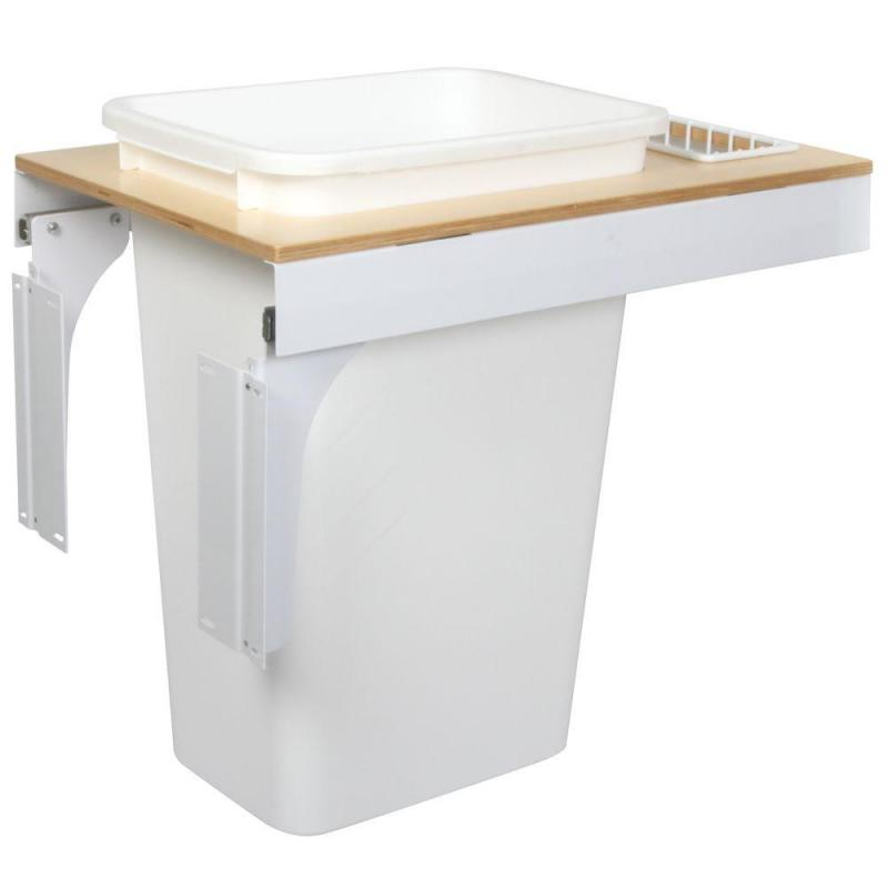 KV TSC15-1-50WH 50QT Top Mount Trash Pull-Out with Soft-Close, White, Knape and Vogt :: Image 10