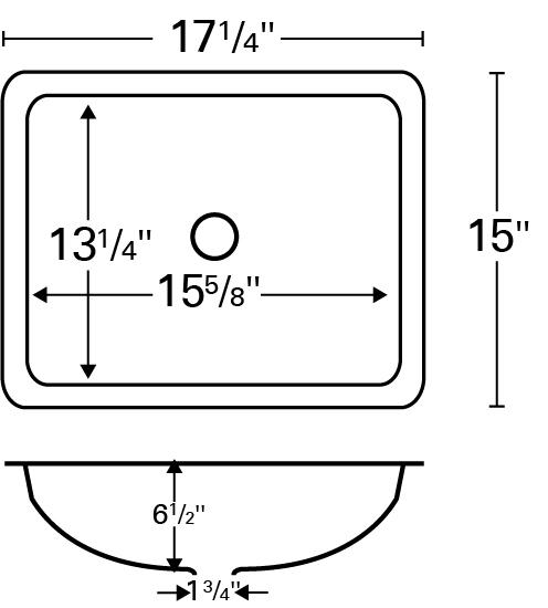 """17"""" Undermount Stainless Vanity Sink Karran UV-1715 Line Drawing"""
