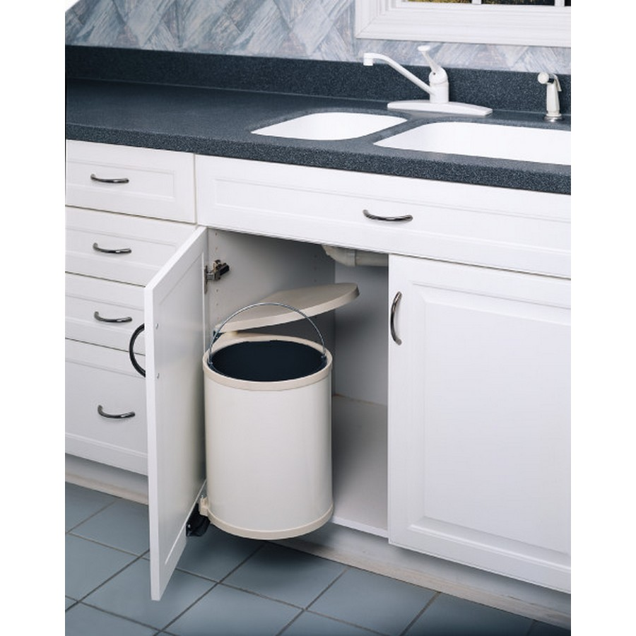 15 Liter Pivot Out Waste Container White Rev-A-Shelf 8-010412-15
