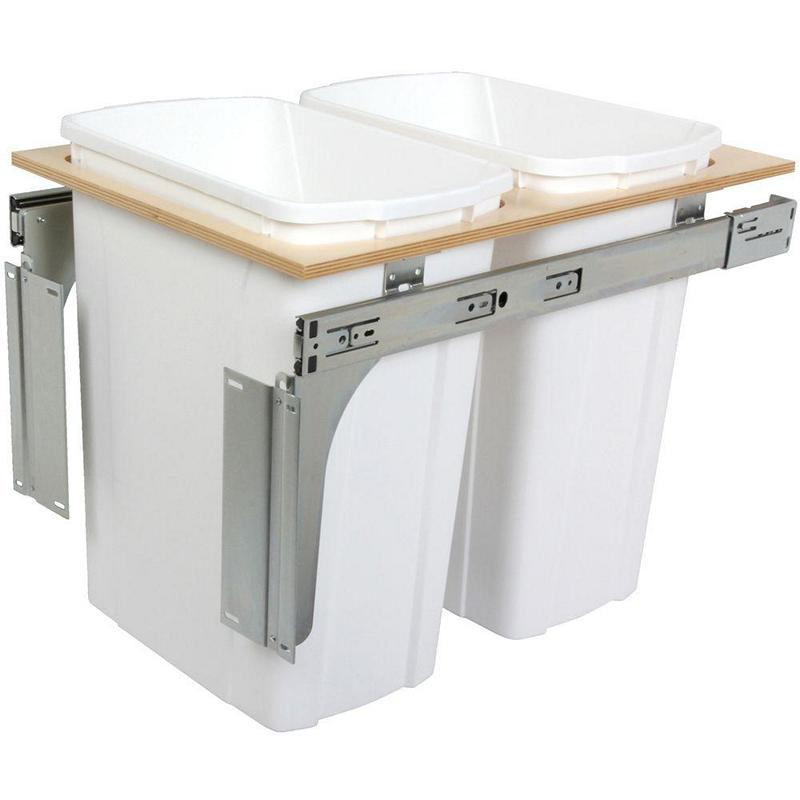 KV PDMTM15-2-35WH Double 35QT Top Mount Trash Pull-Out, White, Knape and Vogt :: Image 10