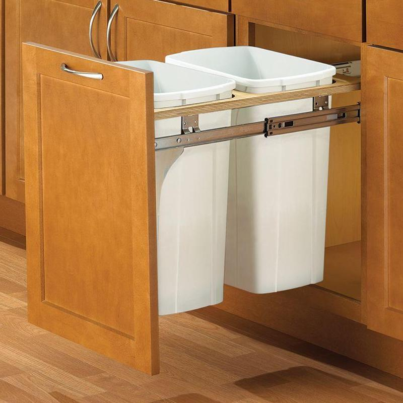 KV PDMTM15-2-35WH Double 35QT Top Mount Trash Pull-Out, White, Knape and Vogt :: Image 20
