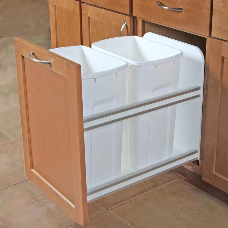 KV USC15-2-35WH Double 35QT Bottom Mount Trash Pull-Out with Soft Close, White, Knape and Vogt :: Image 20