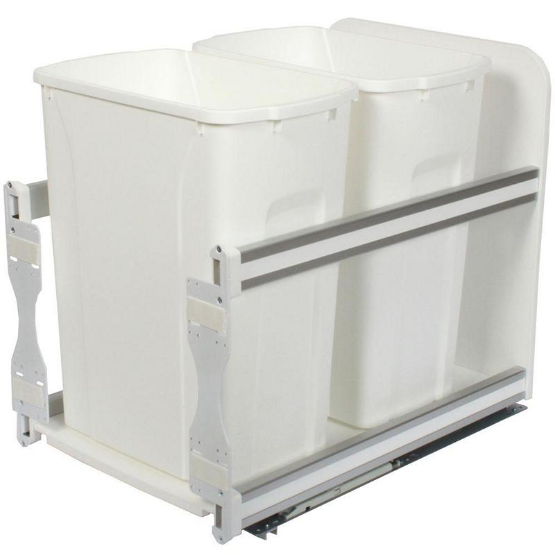 KV USC15-2-35WH Double 35QT Bottom Mount Trash Pull-Out with Soft Close, White, Knape and Vogt :: Image 10