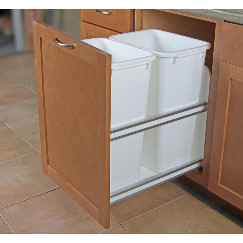 KV USC18-2-50WH Double 50QT Bottom Mount Trash Pull-Out with Soft Close, White, Knape and Vogt :: Image 20
