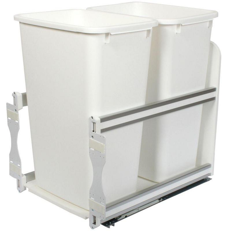 KV USC18-2-50WH Double 50QT Bottom Mount Trash Pull-Out with Soft Close, White, Knape and Vogt :: Image 10