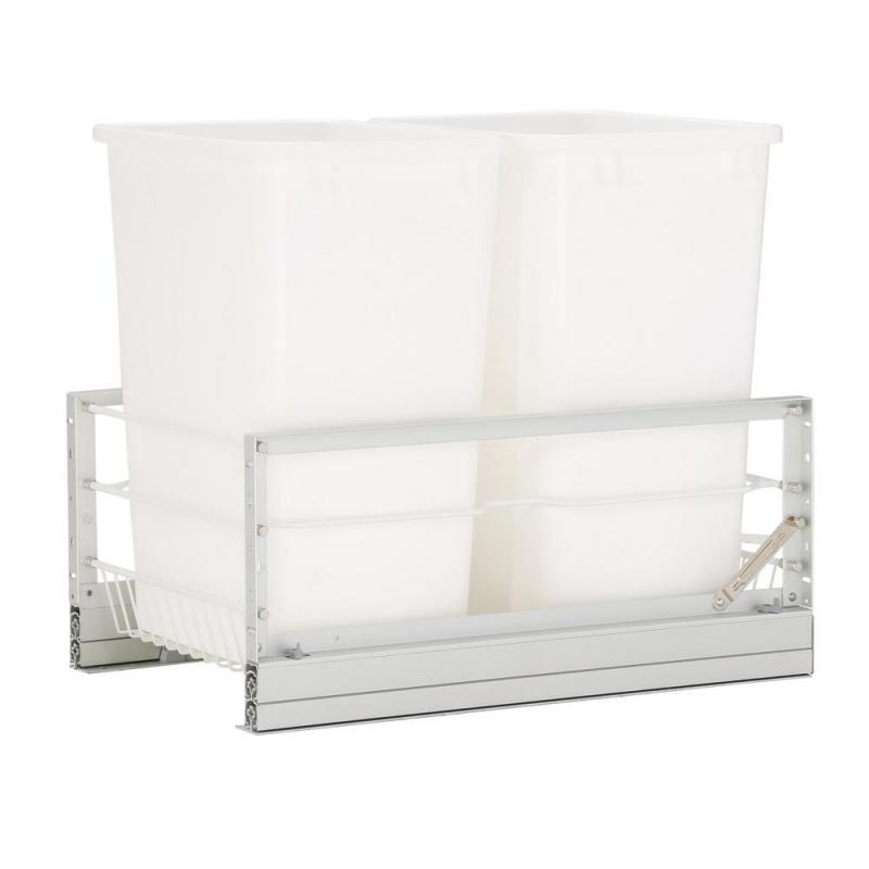 Rev-A-Shelf 5349-18DM-2 Double Trash Pull-Out 35 Qt., Bottom Mount, White :: Image 10