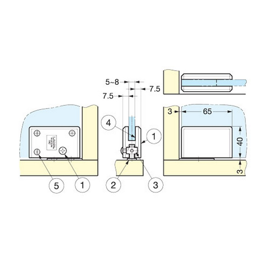 Glass Door Inset Pivot Hinge Chrome Sugatsune XL-GC04-C Line Drawing