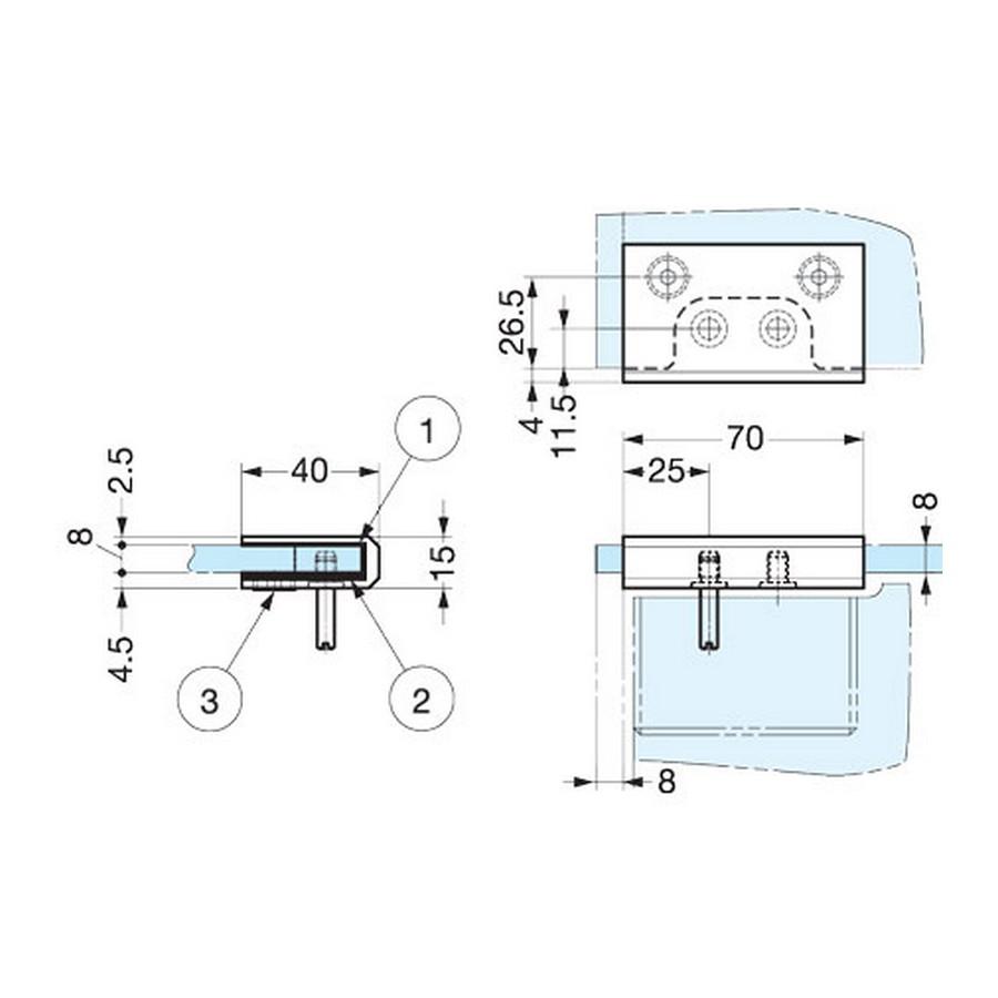 Glass Bracket for GC04 Hinge RH Chrome Sugatsune XL-GC05-R-C Line Drawing
