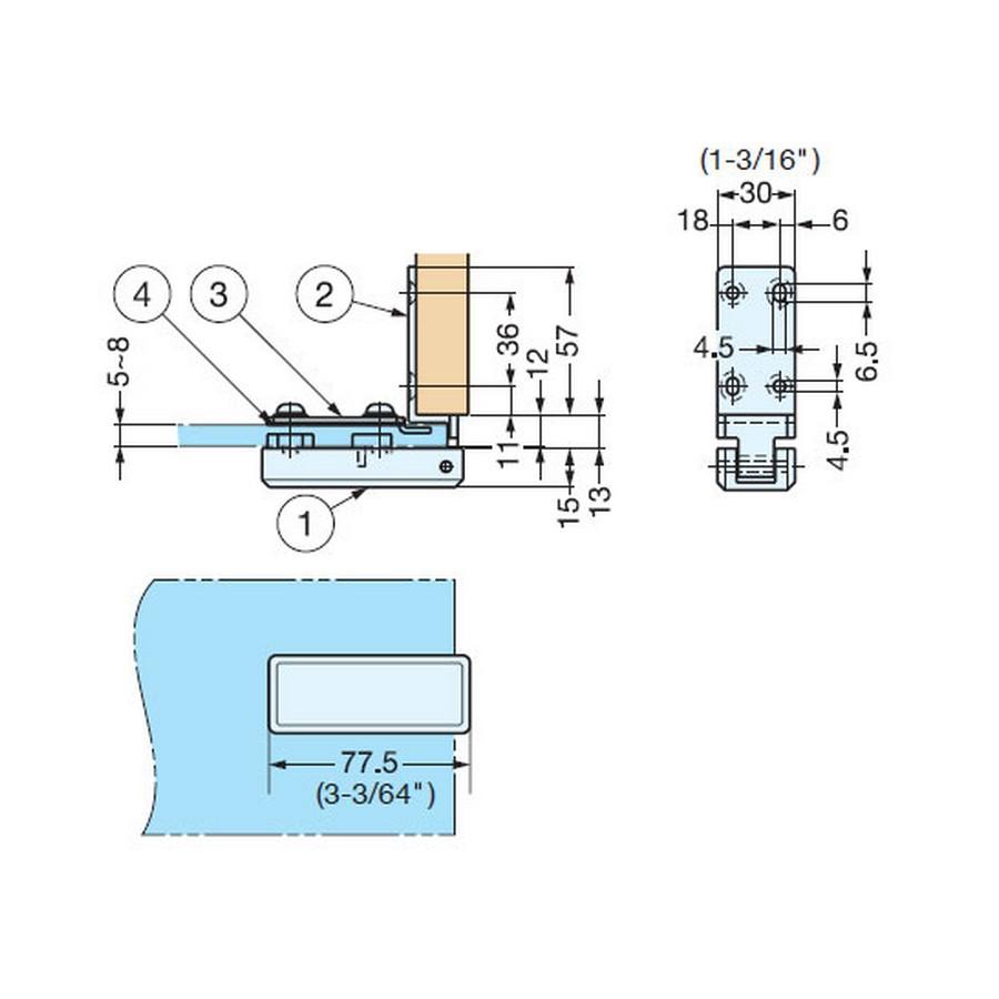 Glass Hinge W/ Catch Overlay Chrome Sugatsune XL-GC07-C Line Drawing