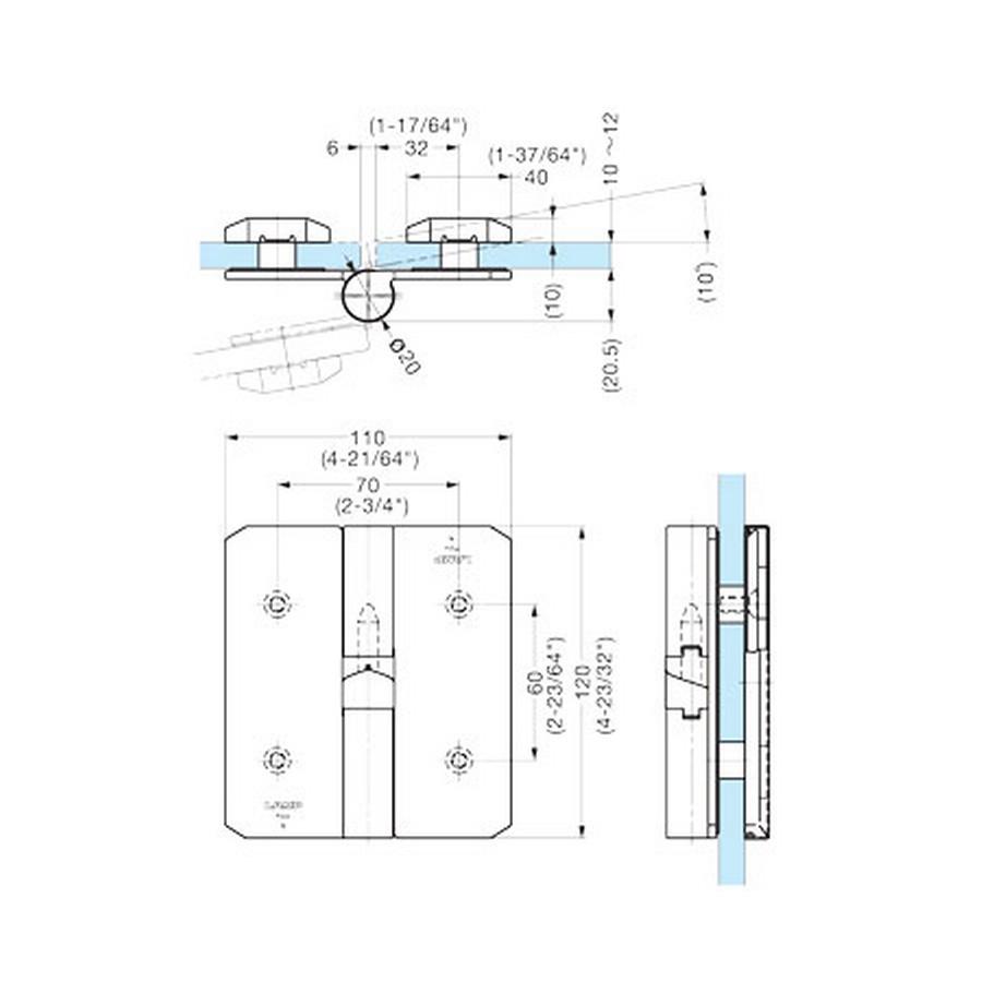 Glass Door Gravity Hinge 20-70 Degree LH Sugatsune XL-GH05F-120L Line Drawing