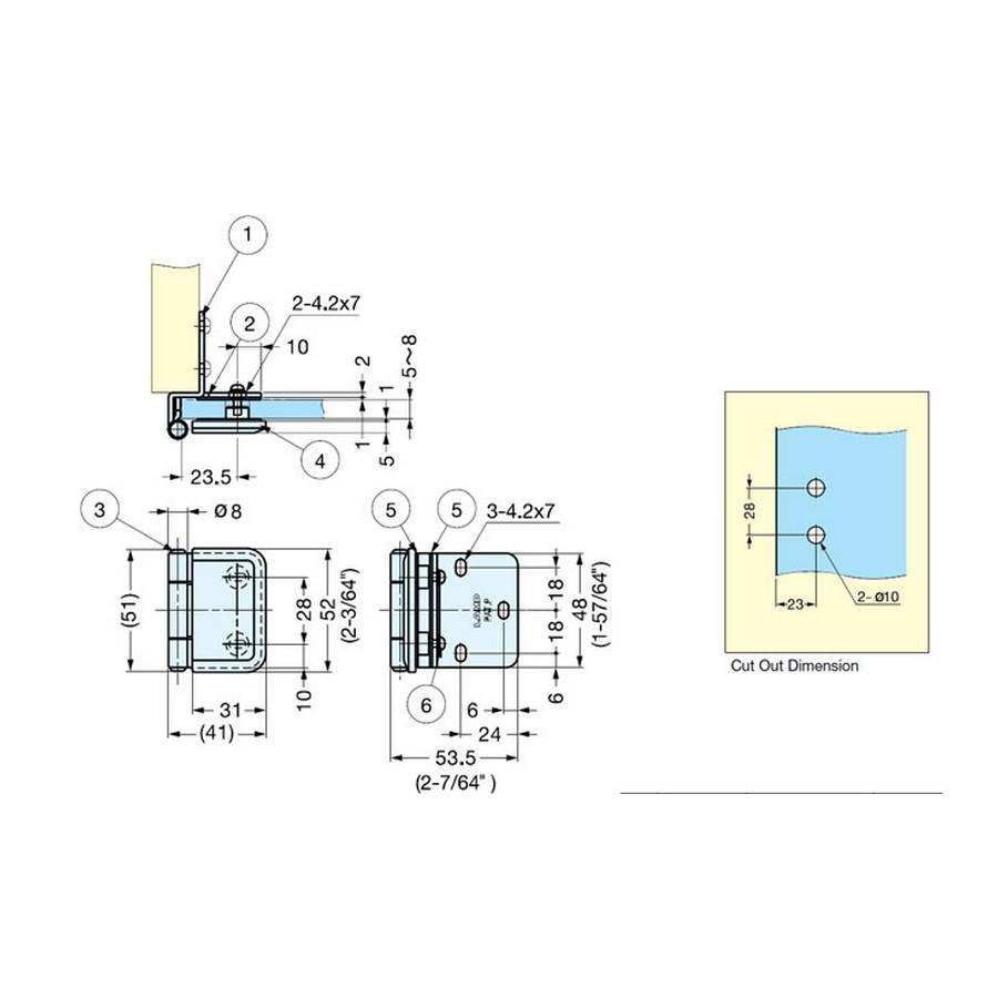 "Half Overlay Glass Door Hinge 2-1/8"" L Gold Sugatsune XL-GH03-48-8GC Line Drawing"