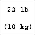 22 lb (10 kg)