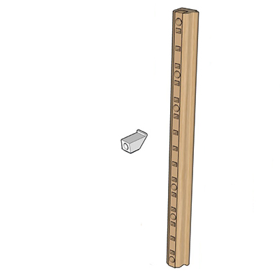 """Quicktray Maple Wood Pilaster Side Mounting Bracket System with Beige Insert 1-1/4"""" Tenn-Tex B-5121-01"""