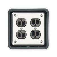 Mockett JB1-90, Square Plastic 1-Piece, Junction Box Grommet Liner, 4-Outlet Box Type, Bore Hole: 4-13/16 Square, Black