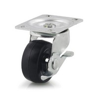DH Casters C-GD25HRSB, Plate Mount Swivel & Rigid Caster, Medium Duty, 2-1/2, 200lb Capacity, Plate Size 2-3/4 x 3-27/32in