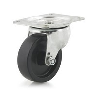 DH Casters C-GD40PS, Plate Mount Swivel & Rigid Caster, Medium Duty, 4in, 225lb Capacity, Plate Size 4 x 5-1/18in