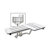 Harney Hardware 19070, Fold Up Shower Bench, Reversible, Left Handed, Phenolic Seat, Ada, Stainless Steel Shower Bench, Brushed Stainless Steel, ADA