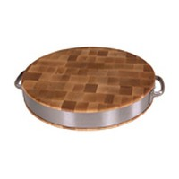 John Boos CCB15FR-ST 15-1/2 dia. Cutting Board with Stainless Steel Bar Handles, Gift Collection, Maple Series, 15-1/2 Dia. x 2-1/2 Thick