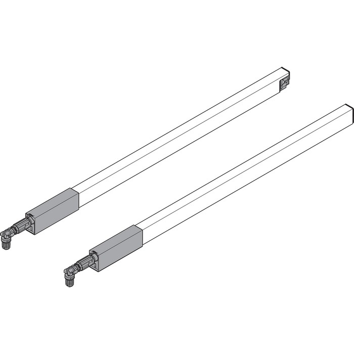 "BLUM ZRG.487RIIC 22"" Top Gallery Rail Set (Right & Left), 550mm, Stainless Steel"