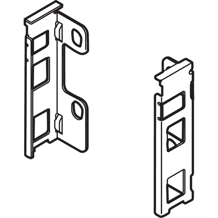 "Blum ZB7M000S LEGRABOX M Height (3-9/16"") Rear Fixing Bracket Set, Left Hand & Right Hand, Orion Gray"