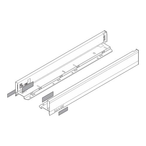 "Blum 770N4502I LEGRABOX 18"" N Height (2-5/8"") Drawer Profile, BLUMOTION, Stainless Steel"
