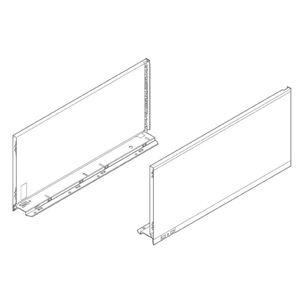 "Blum 770F4002I LEGRABOX 16"" F Height (9-1/2"") Drawer Profile, BLUMOTION, Stainless Steel"