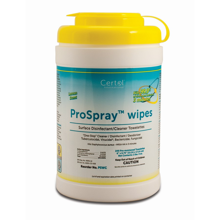 ProSpray Disinfectant Ready to Use Wipes Lemon Scented 240 Per Pack