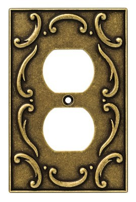 Liberty Hardware 126346, Single Duplex Wall Plate, Burnished Antique Brass, French Lace