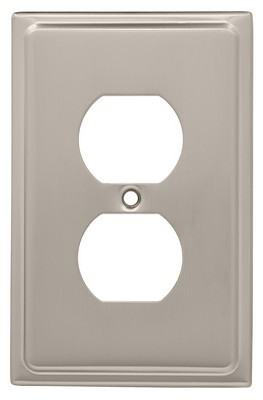 Liberty Hardware 126362, Single Duplex Wall Plate, Satin Nickel, Country Fair