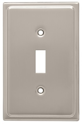 Liberty Hardware 126364, Single Switch Wall Plate, Satin Nickel, Country Fair