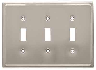 Liberty Hardware 126366, Triple Switch Wall Plate, Satin Nickel, Country Fair