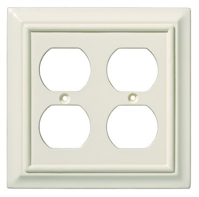 Liberty Hardware 126376, Double Duplex Wall Plate, Light Almond, Wood Architectural