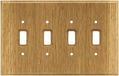 Liberty Hardware 126431, Quad Switch Wall Plate, Medium Oak, Wood Square