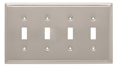 Liberty Hardware 126477, Quad Switch Wall Plate, Satin Nickel, Country Fair