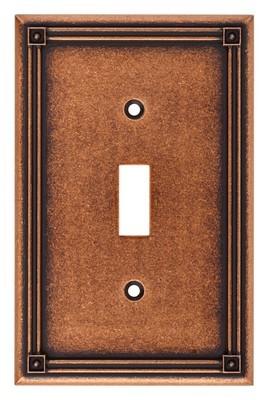 Liberty Hardware 135764, Single Switch Wall Plate, Sponged Copper, Ruston