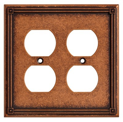 Liberty Hardware 135768, Double Duplex Wall Plate, Sponged Copper, Ruston