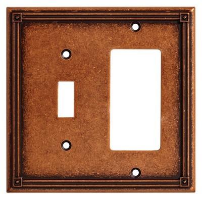 Liberty Hardware 135771, Single Switch/Decorator Wall Plate, Sponged Copper, Ruston