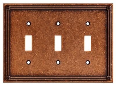 Liberty Hardware 135772, Triple Switch Wall Plate, Sponged Copper, Ruston
