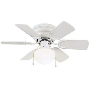 Design House 152991 Atrium 30in 6-Blade Hugger Mount Ceiling Fan, White Blades, White
