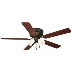 Design House 153411 Millbridge 52in 3-Light 5-Blade Hugger Mount Ceiling Fan, Dark Mahogany or Light Maple Blades, Oil Rubbed Bronze