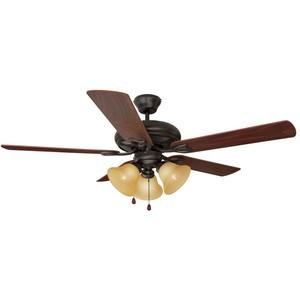 Design House 153791 Bristol 52in 3-Light 5-Blade Ceiling Fan, Dark Mahogany Blades, Oil Rubbed Bronze
