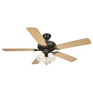 Design House 153932 Millbridge 52in 3-Light 5-Blade Ceiling Fan, Dark Mahogany or Light Maple Blades, Oil Rubbed Bronze
