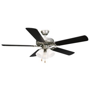 Design House 153957 Millbridge 52in 3-Light 5-Blade Ceiling Fan, Black or Light Maple Blades, Satin Nickel