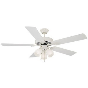 Design House 153965 Millbridge 52in 3-Light 5-Blade Ceiling Fan, Bleached Oak or White Blades, White