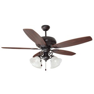 Design House 154005 Drake 52in 4-Light 5-Blade Ceiling Fan, Dark Mahogany or Beechwood Blades, Oil Rubbed Bronze