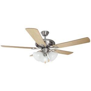 Design House 154013 Bristol 52in 3-Light 5-Blade Ceiling Fan, Redwood or Light Maple Blades, Satin Nickel