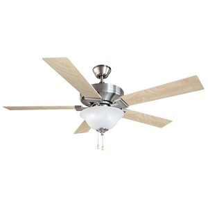 Design House 154070 Ironwood 52in 2-Light 5-Blade Energy Star Ceiling Fan, Redwood or Light Maple Blades, Satin Nickel