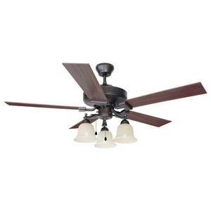 Design House 154112 Ironwood 52in 3-Light 5-Blade Ceiling Fan, Redwood or Light Maple Blades , Brushed Bronze